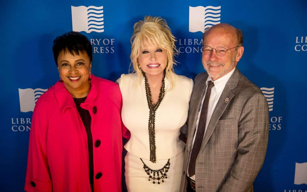 Photo of Librarian of Congress Carla Hayden, Dolly Parton, President of the Dollywood Foundation, David Dotson