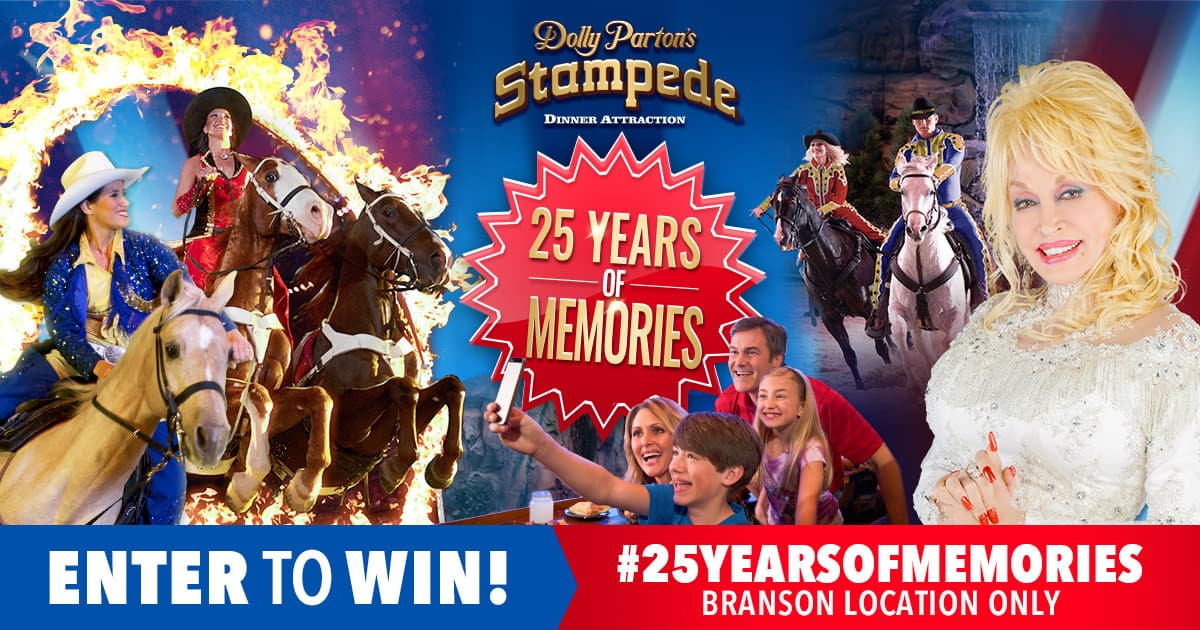 25 Years of Memories Photo Sweepstakes at Dolly Parton's Stampede in Branson, MO!
